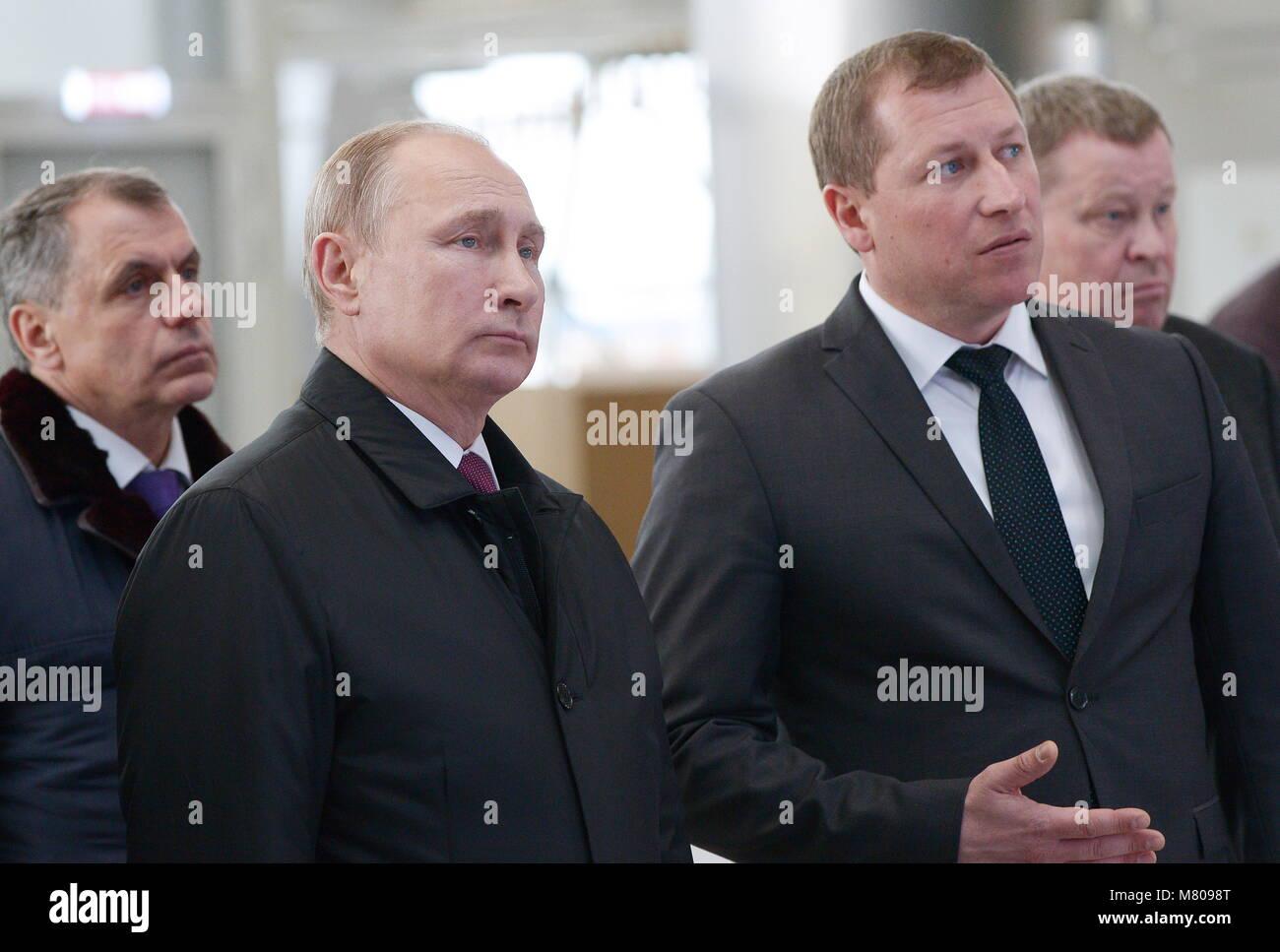 Simferopol, Russia. 14th Mar, 2018. SIMFEROPOL, CRIMEA, RUSSIA - MARCH 14, 2018: Crimea's State Council Chairman - Stock Image