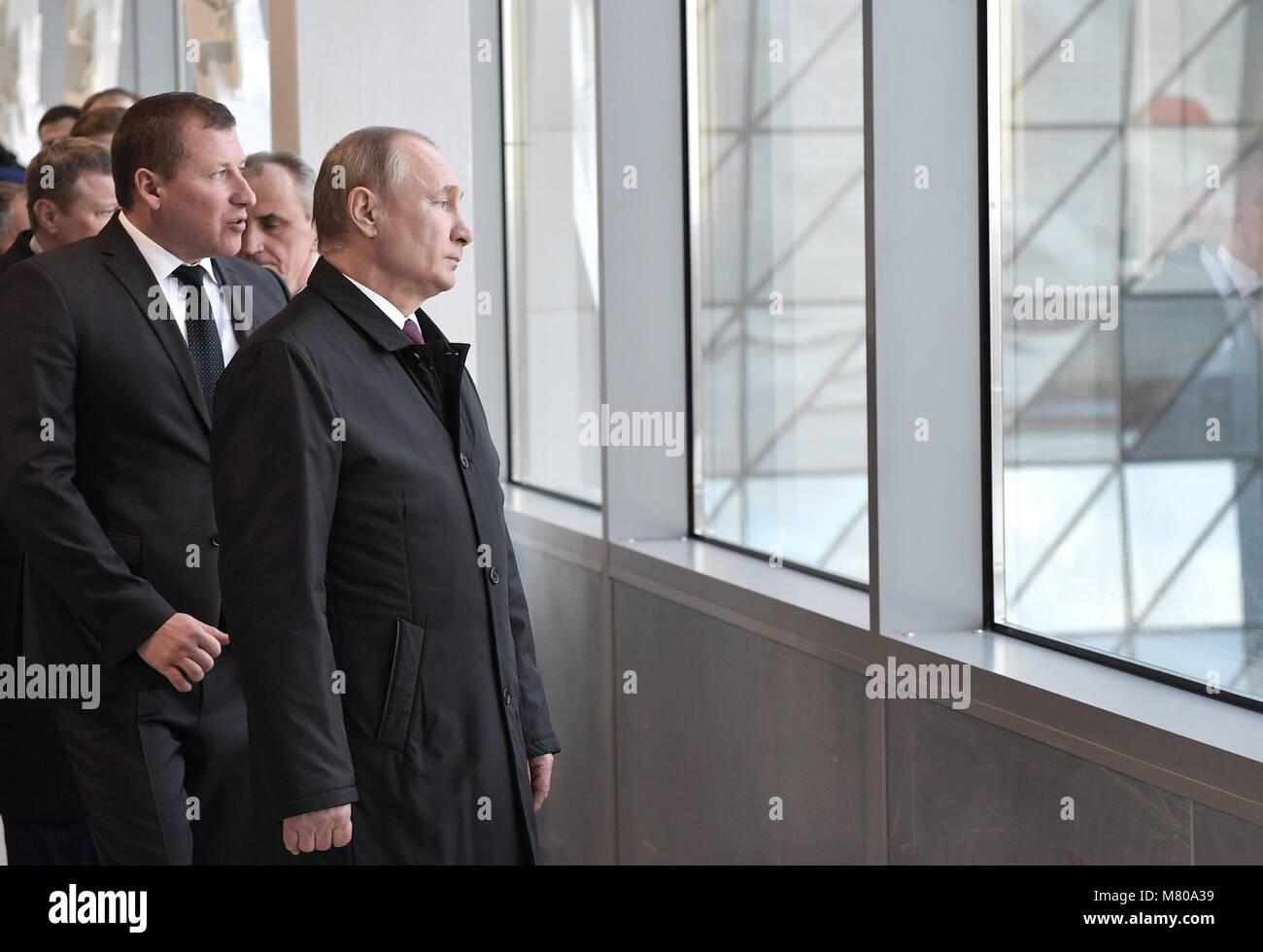 Simferopol, Russia. 14th Mar, 2018. SIMFEROPOL, CRIMEA, RUSSIA - MARCH 14, 2018: Russia's President Vladimir - Stock Image