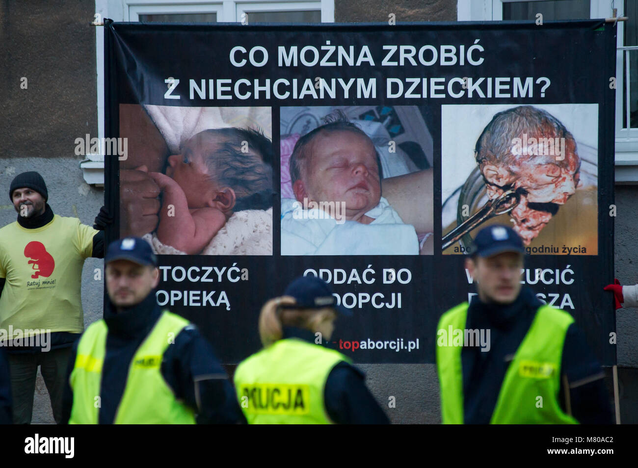 Anti abortion movement in Gdansk, Poland March 8th 2018 © Wojciech Strozyk / Alamy Stock Photo - Stock Image