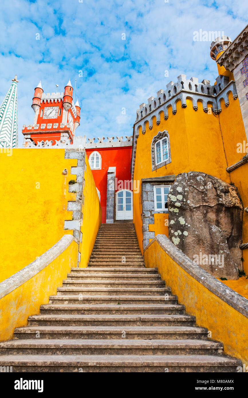 "One of the stairways at The Royal Palace of Pena, or ""Castelo da Pena"" as it is more commonly known, Portugal, Sintra. Stock Photo"