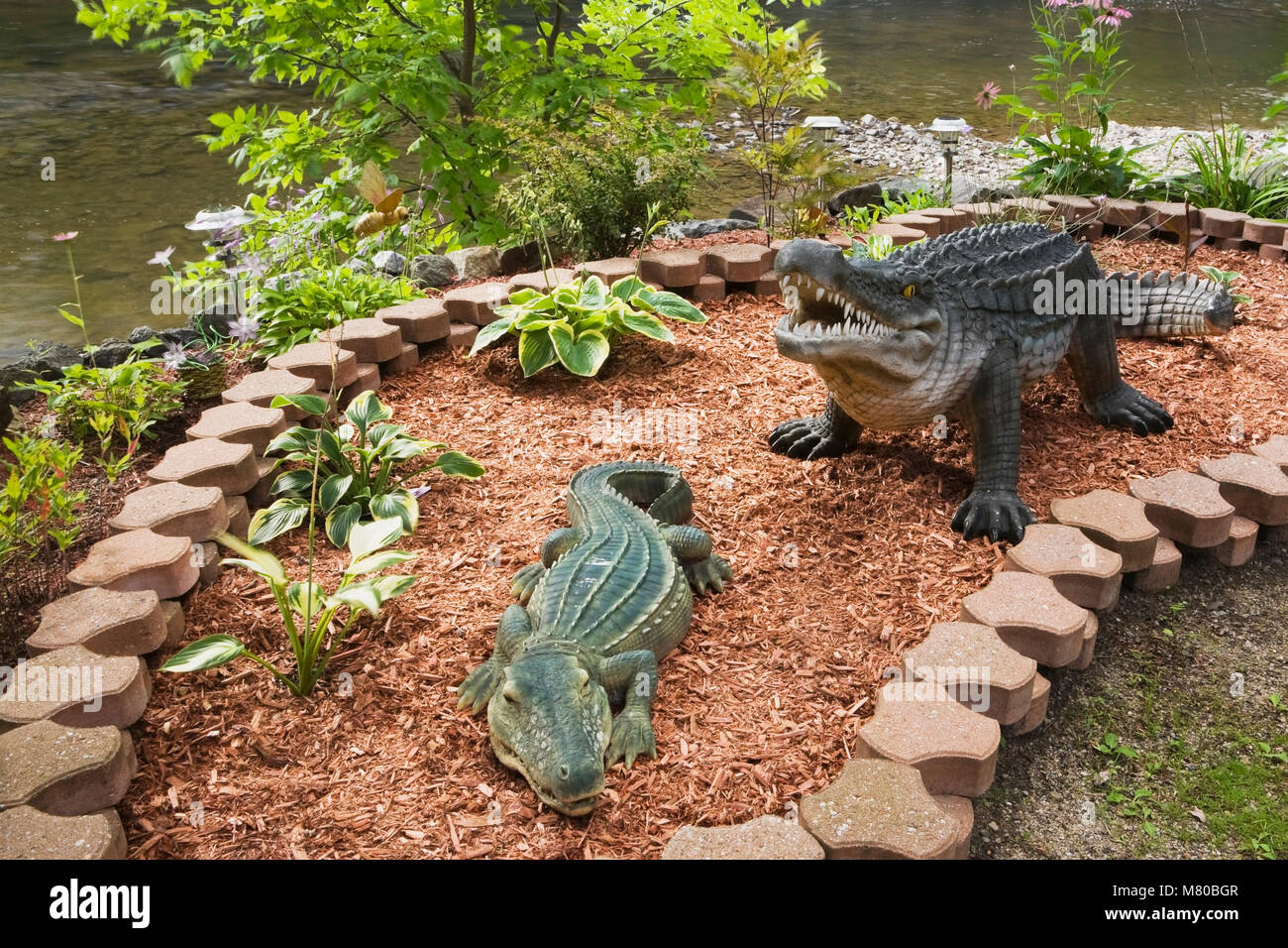 Alligator And Crocodile Statues In A Landscaped Front Yard Garden In  Summer.   Stock Image
