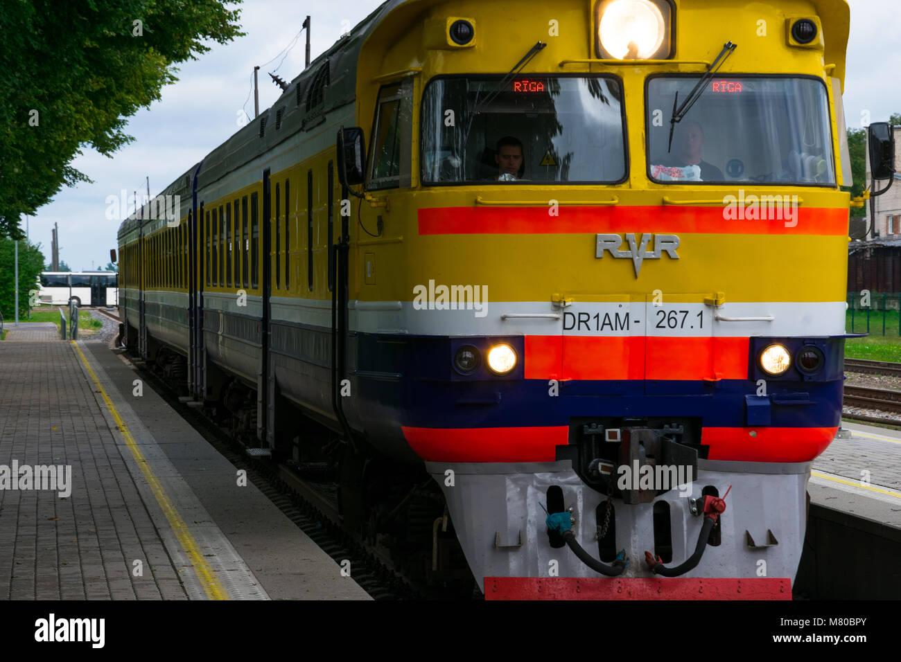 Cesis, Latvia. August 24, 2017. Train arriving at Cesis Railway Station - Stock Image