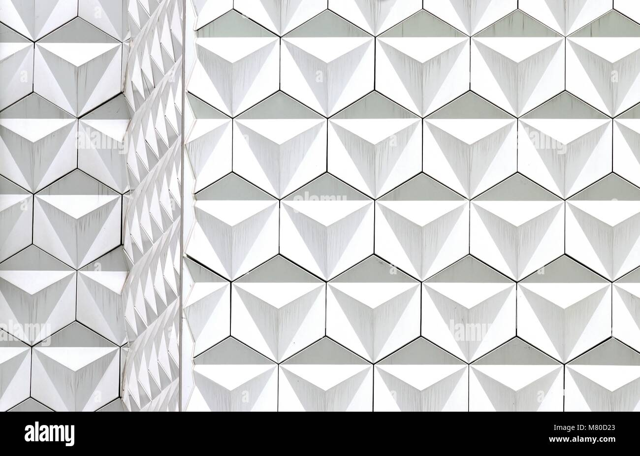 Front view of abstract geometric white  triangle and hexagon repeat patterns as seamless background - Stock Image