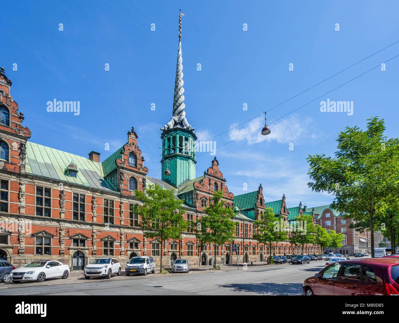 Denmark, Zealand, Copenhagen, view of the Børsen, Royal exchange, the former stock exchange with its distinctive - Stock Image