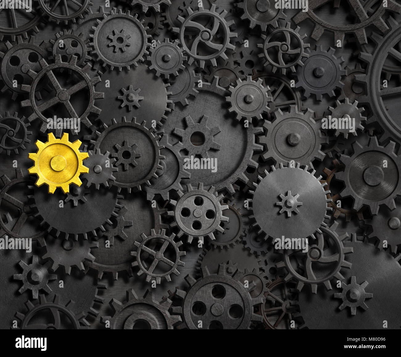 Old gears and cogs with gold one 3d illustration - Stock Image