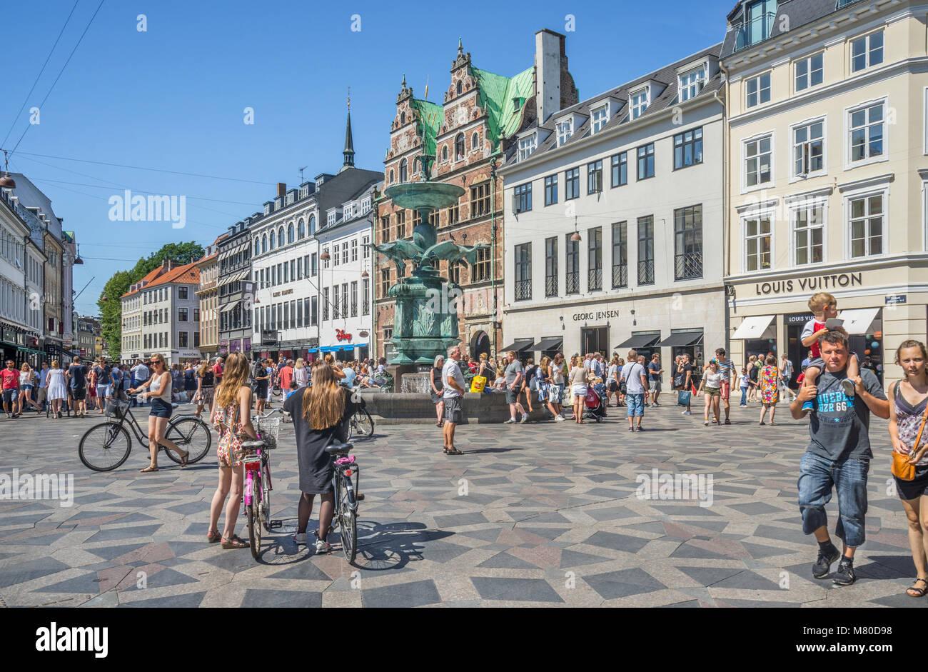 Denmark, Zealand, Copenhagen, view of the Stork Fountain on Amanger Square in the heart of Copenhagen - Stock Image