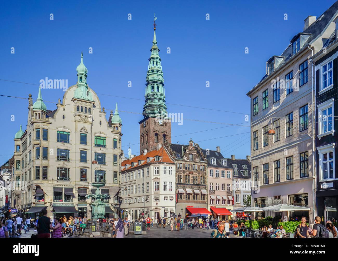 Denmark, Zealand, Copenhagen, view of Amanger Square in the heart of Copenhagen - Stock Image