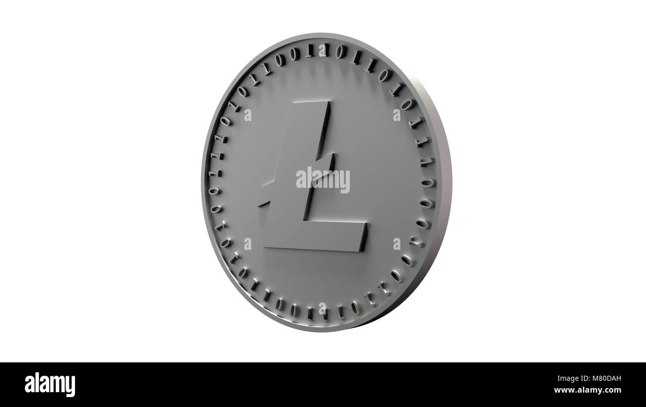 Silver coin of digital crypto currency with the symbol of Litecoin on a white background - Stock Image