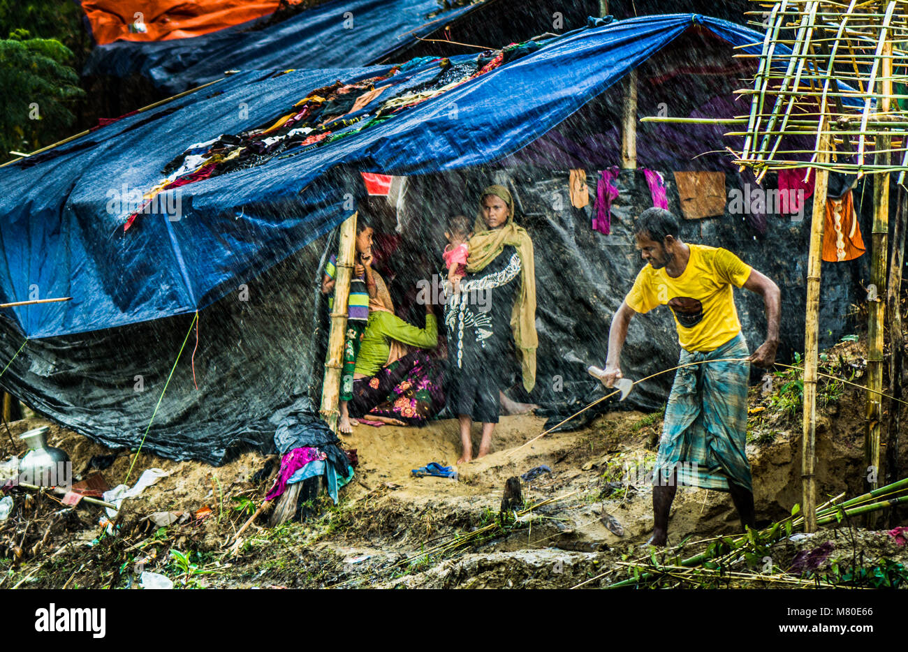 Rohingya people say they are descendants of Muslims, perhaps Persian and Arab traders, who came to Myanmar generations Stock Photo
