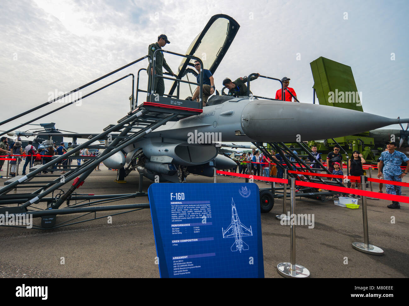 Singapore - Feb 10, 2018. A Lockheed Martin F-16D Fighting Falcon fighter aircraft of Singapore Air Force (RSAF) - Stock Image