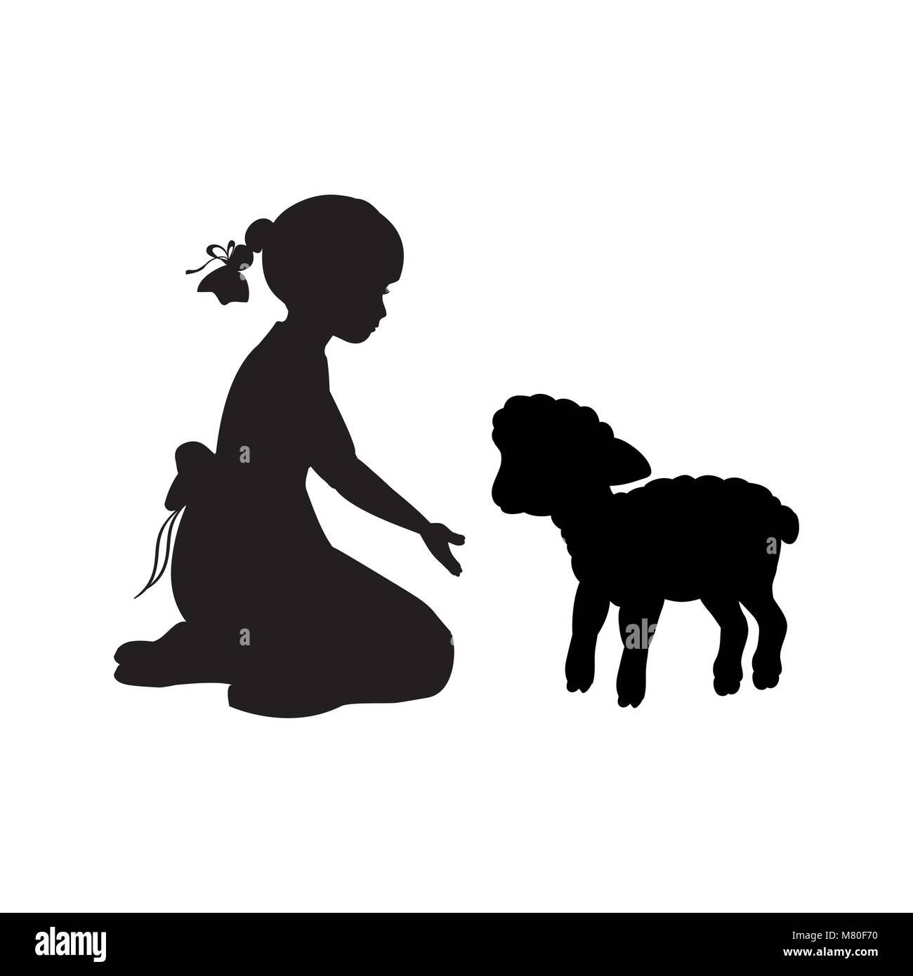 Silhouette girl sitting knees beckon lamb - Stock Image