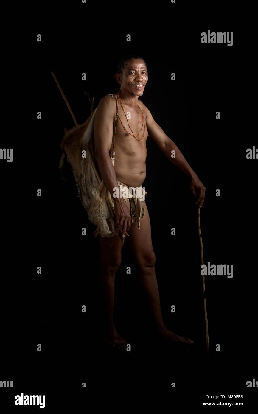 A Sah Bushman near Ghanzi, Botswana. - Stock Image