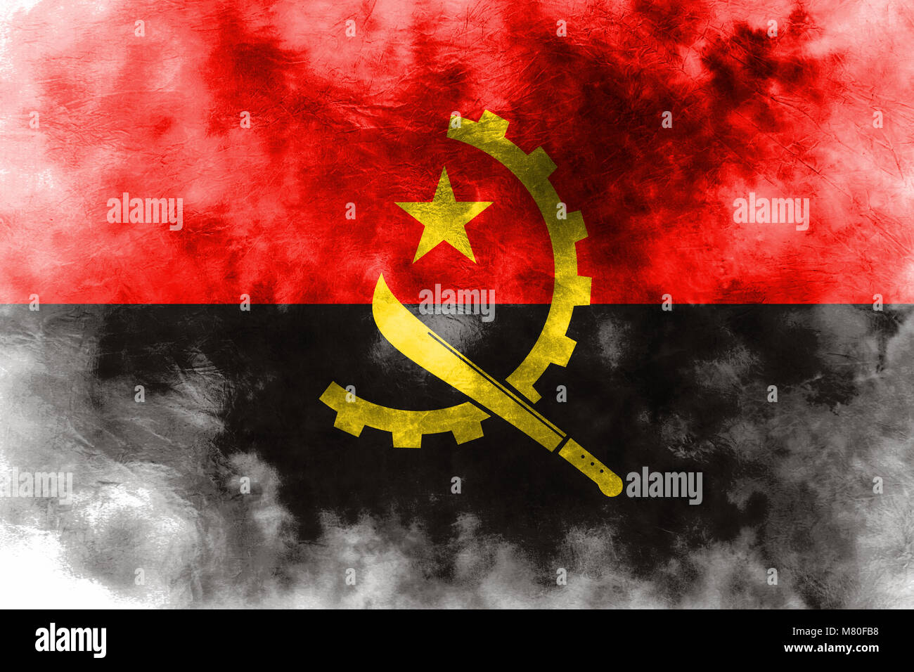 Old Angola grunge background flag - Stock Image
