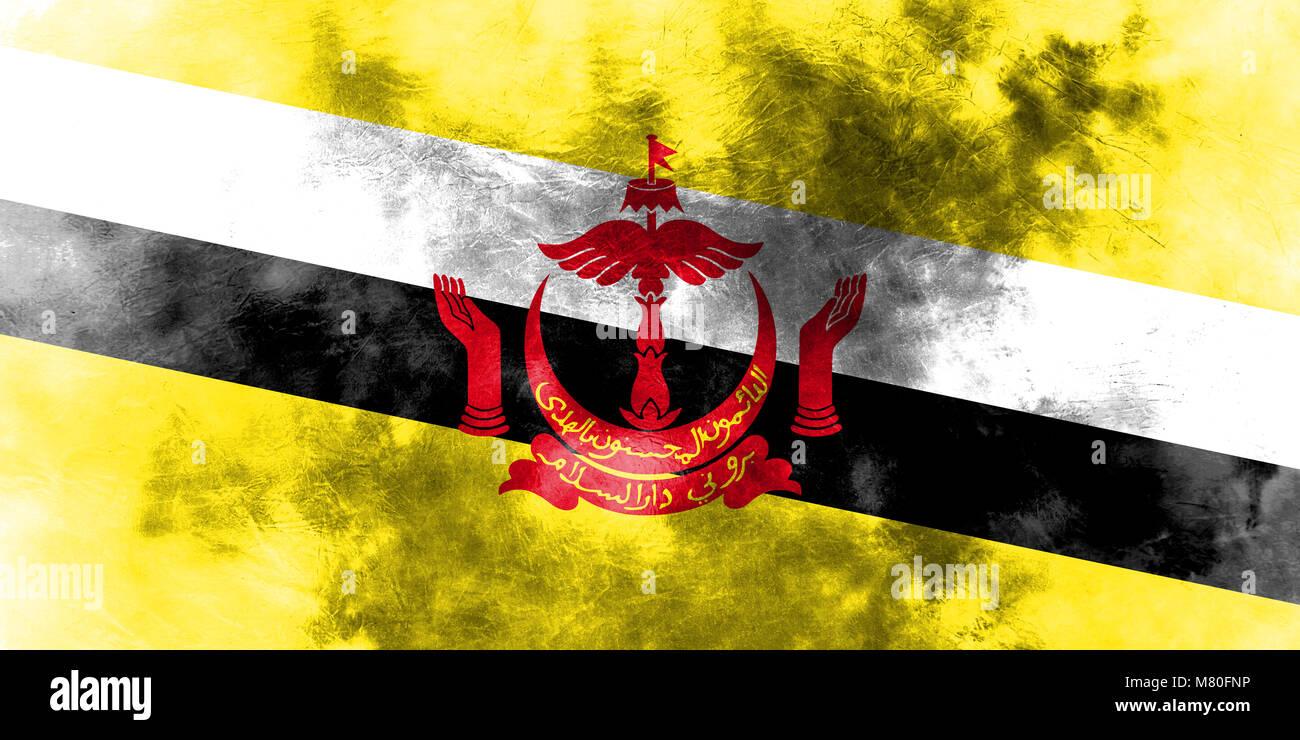 Old Brunei grunge background flag - Stock Image