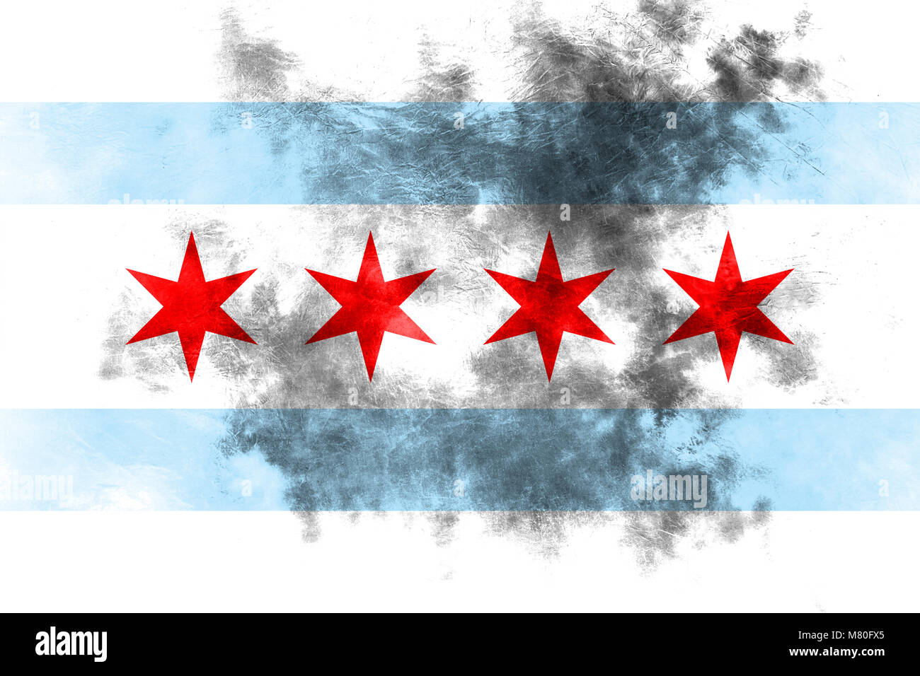 Chicago city smoke flag, Illinois State, United States Of America - Stock Image