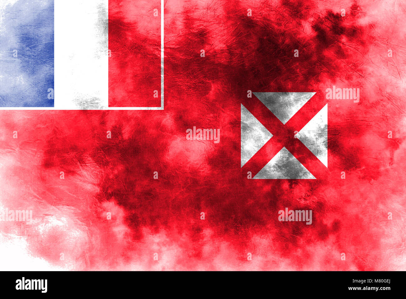Wallis and Futuna grunge flag, France dependent territory flag - Stock Image