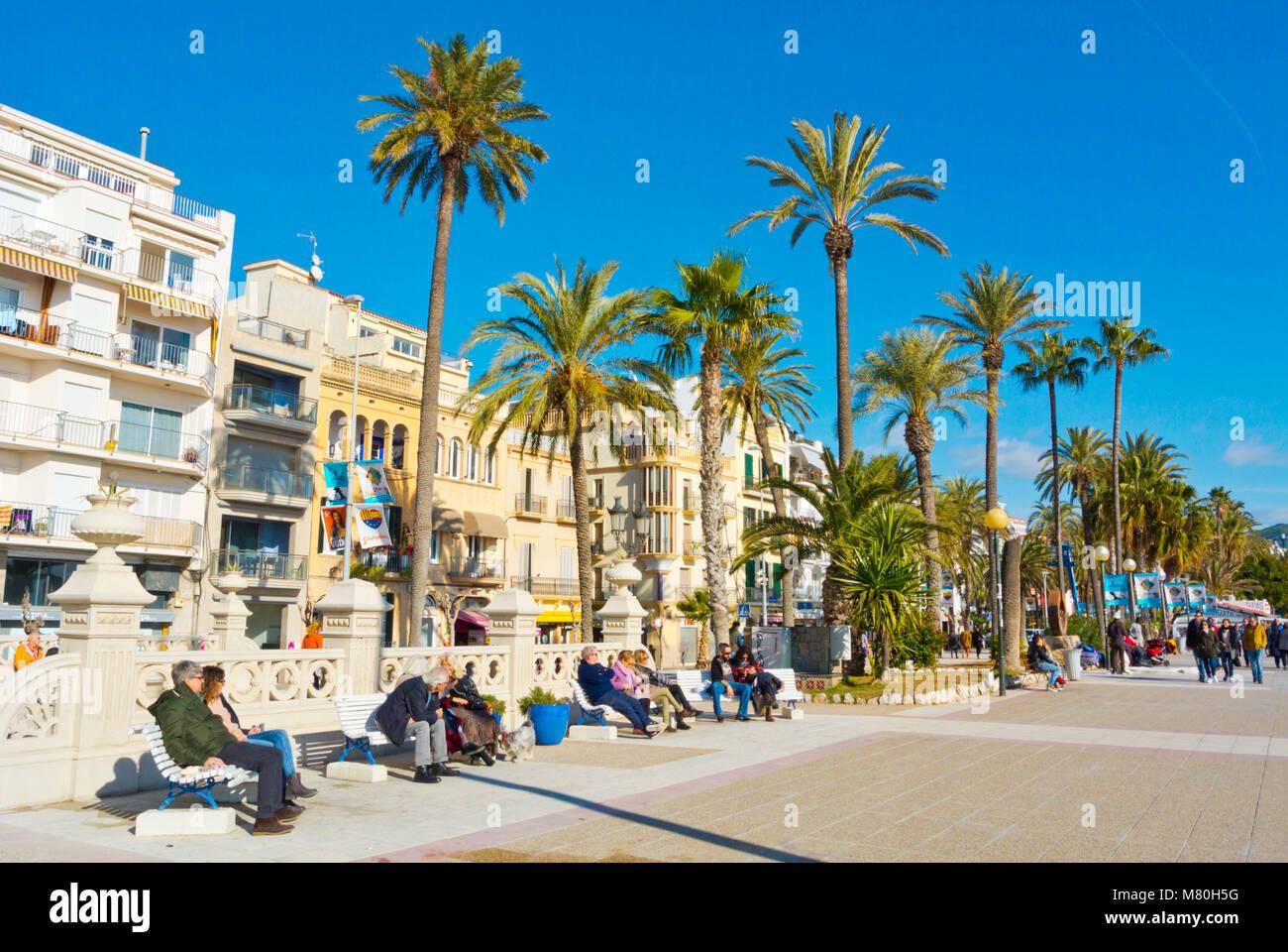 Passeig de la Ribera, Sitges, Catalonia, Spain - Stock Image
