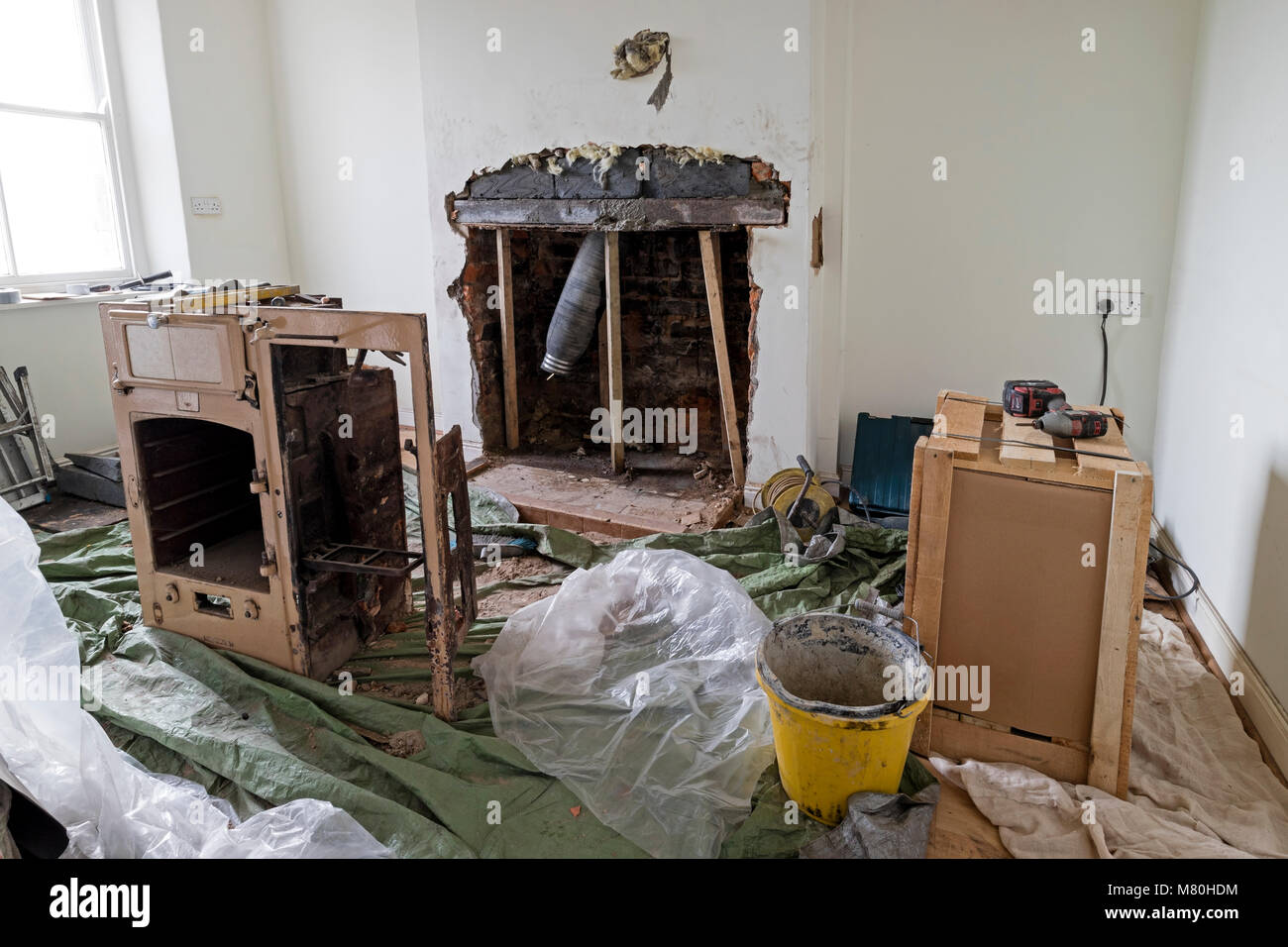 Building Renovation Work Area with Tools and Equipment Laying Around, UK - Stock Image