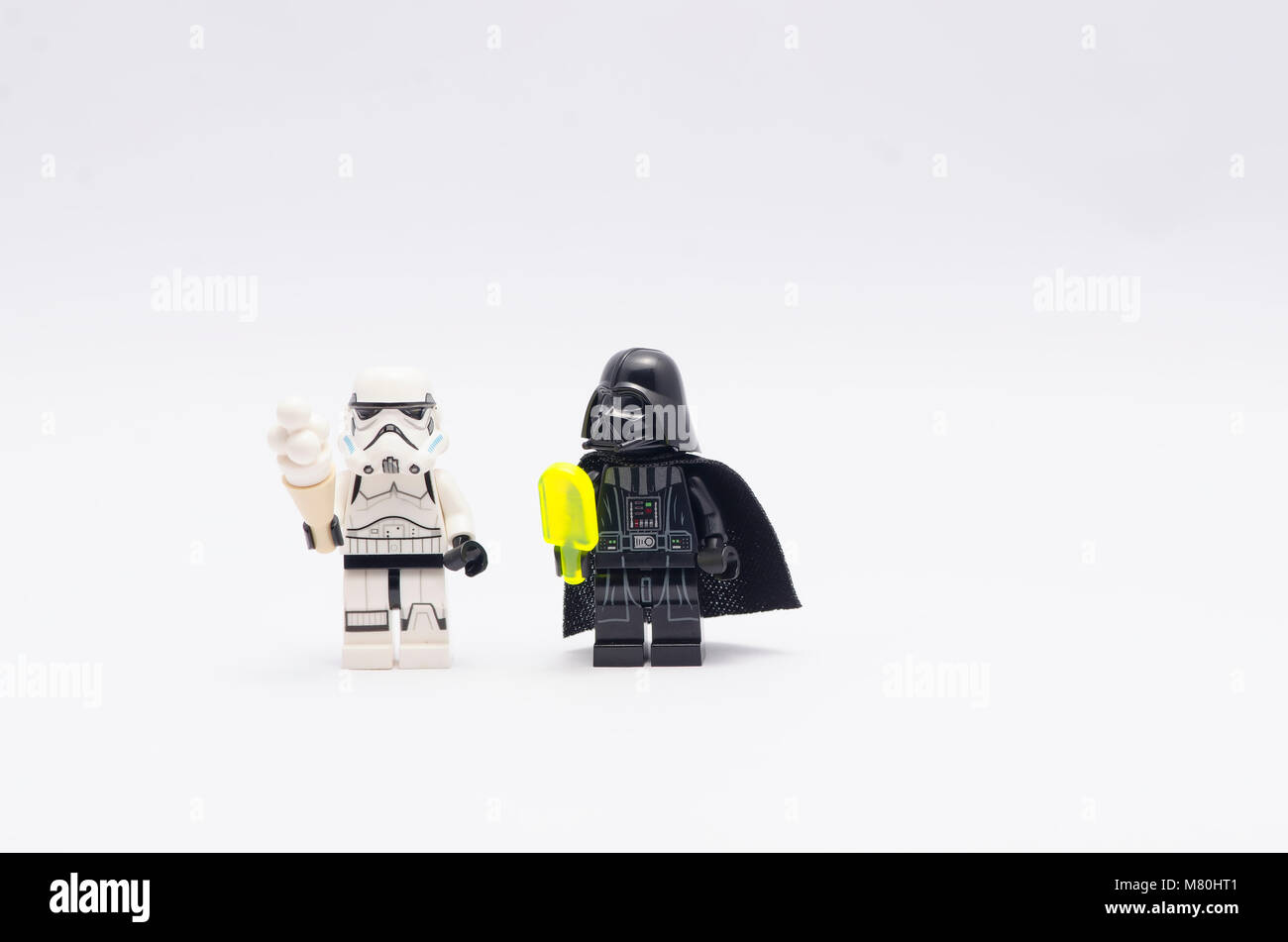 Lego Darth Vader And Storm Trooper Holding Ice Cream Isolated On White Background
