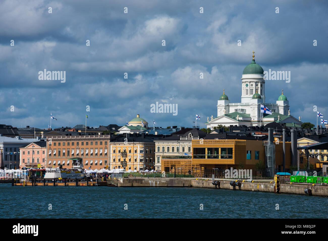 Helsinki, Finland. August 26, 2017. View of Helsinki South Harbour (Etelasatama) and Helsinki Cathedral (Helsingin - Stock Image