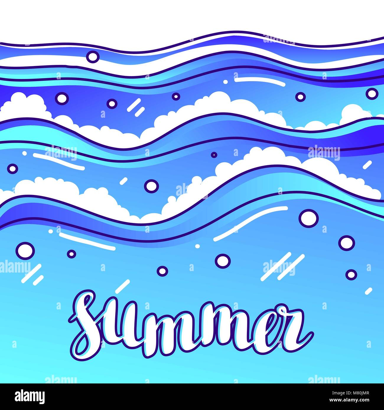 Summer at seaside. Stylized illustration of waves - Stock Vector