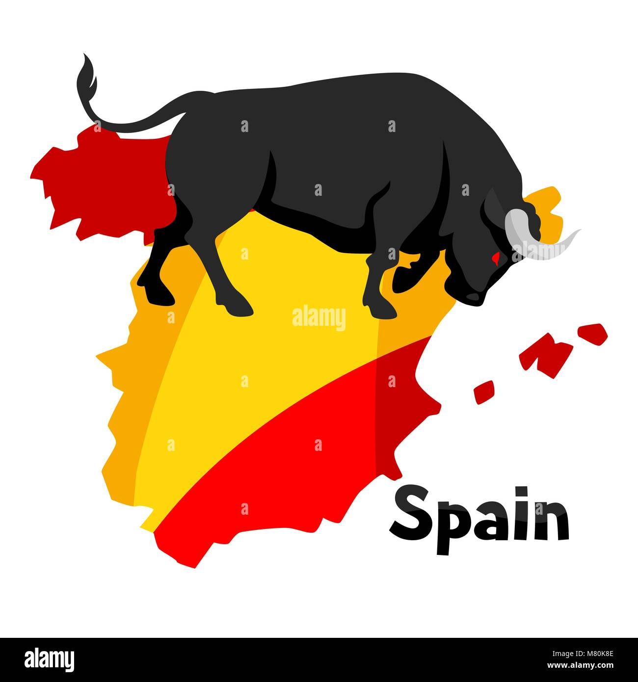 Traditional Spanish Corrida Bull On Background Flag And Map Of Spain