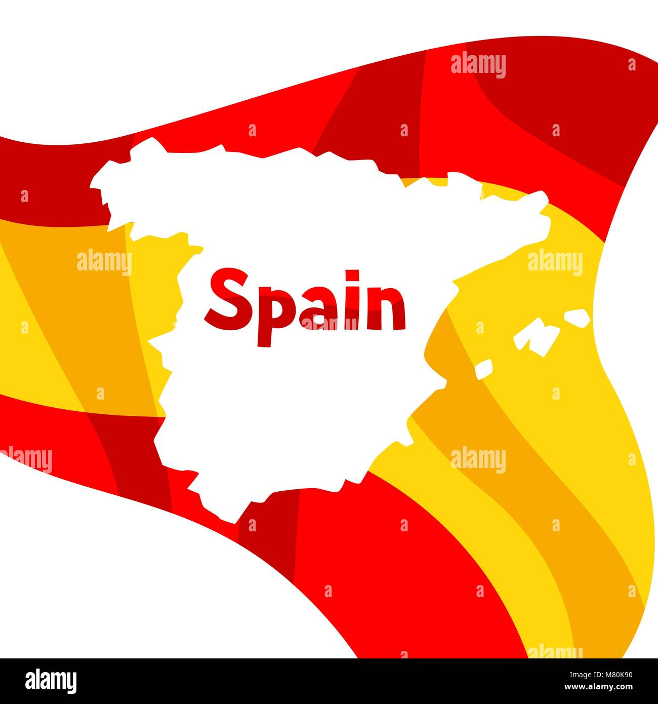 Background with flag and map of Spain. Spanish traditional symbols and objects Stock Vector