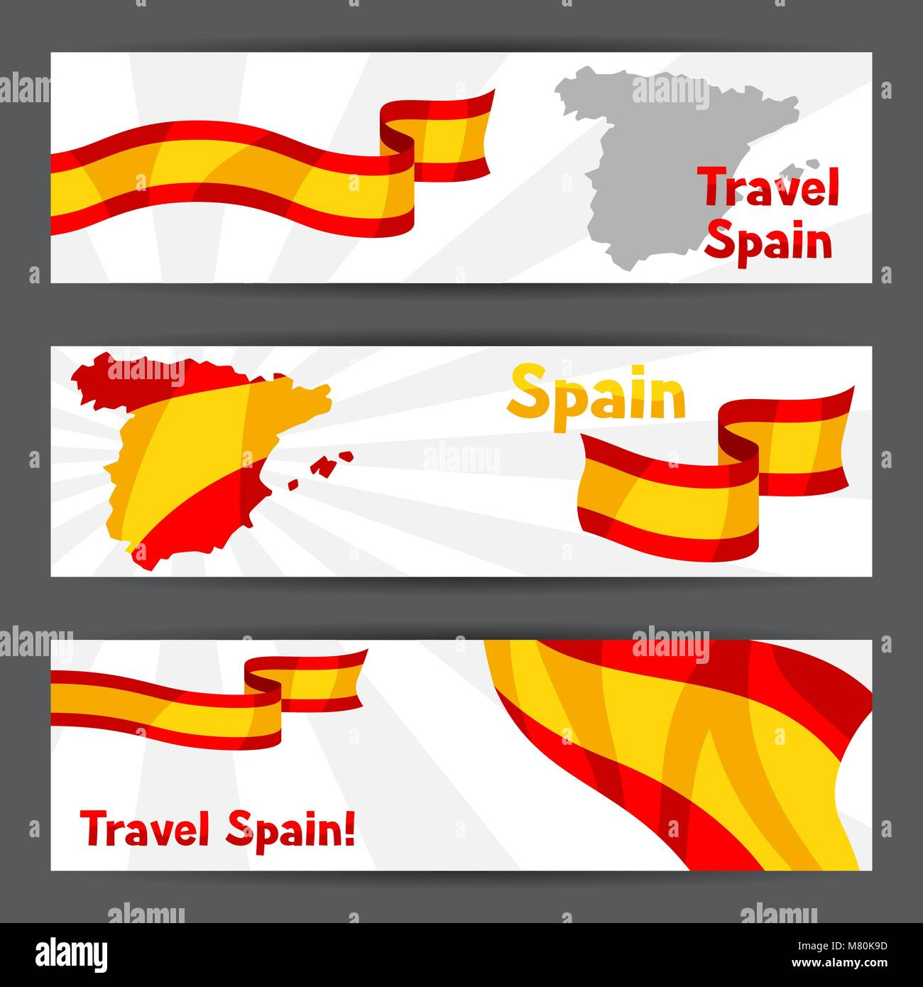 Banners with flag and map of Spain. Spanish traditional symbols and objects Stock Vector