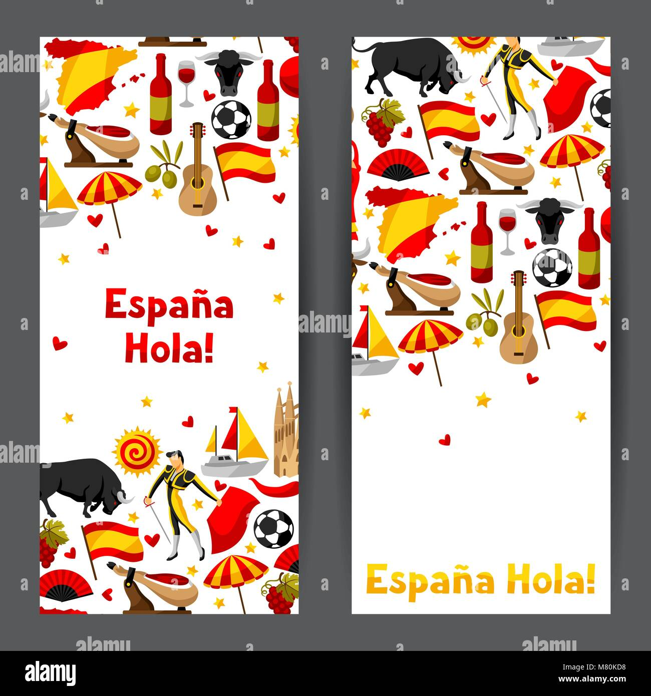 Spain banners design. Spanish traditional symbols and objects Stock Vector