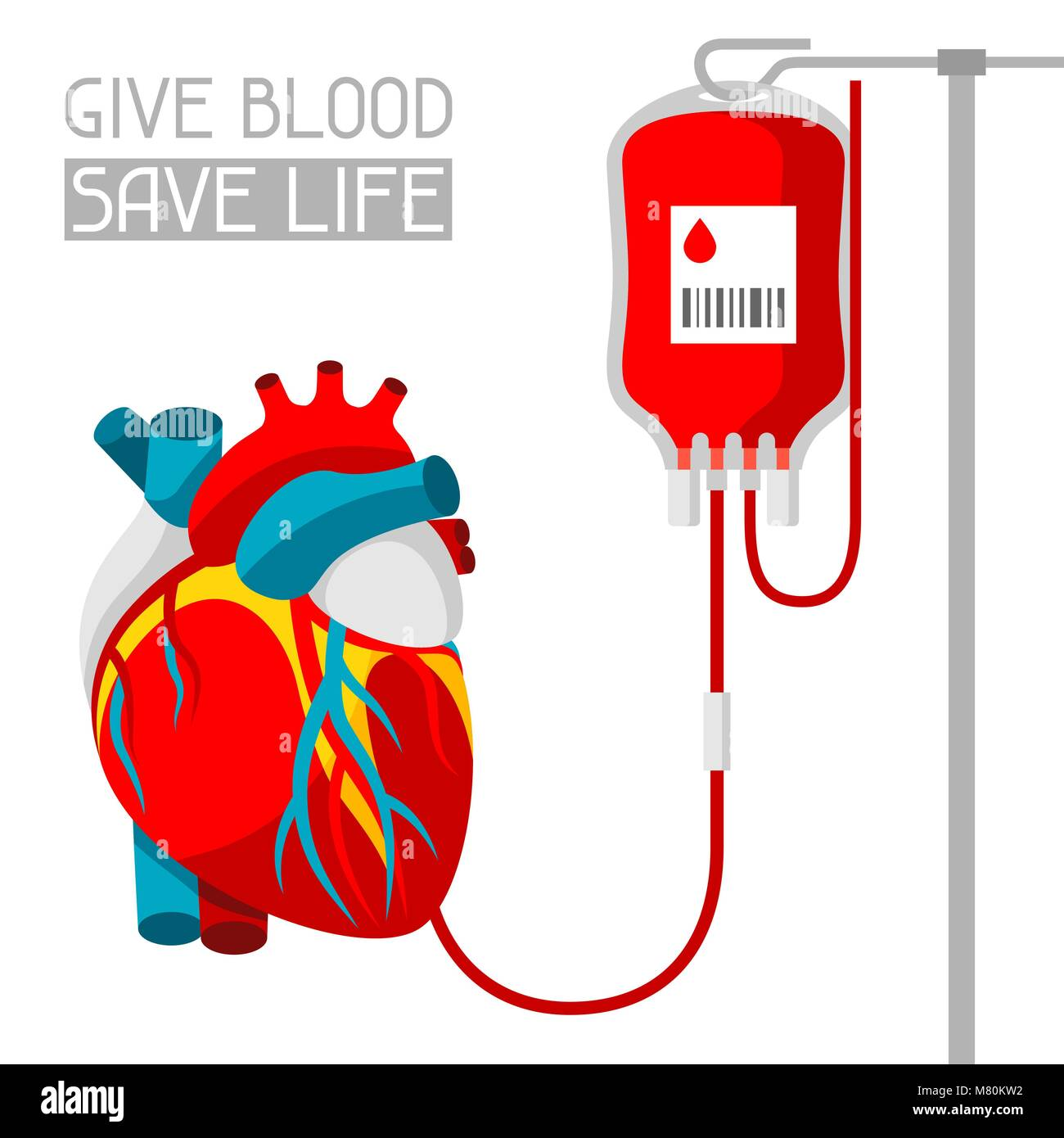 Donate blood. Medical and healthcare iIllustration of human heart - Stock Image