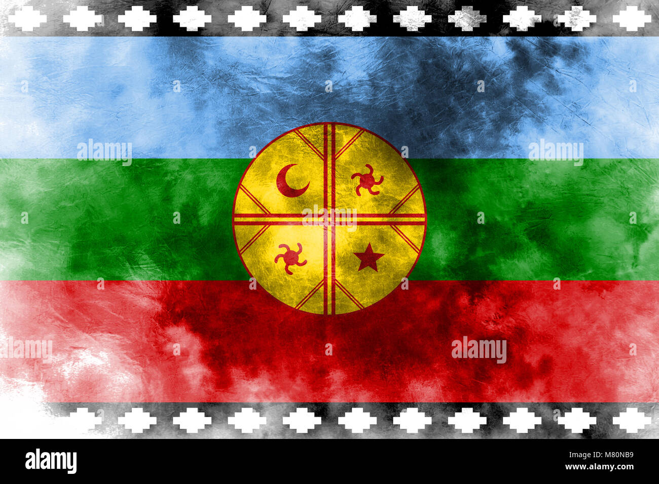 Mapuche grunge flag, Chile and Argentina dependent territory flag - Stock Image