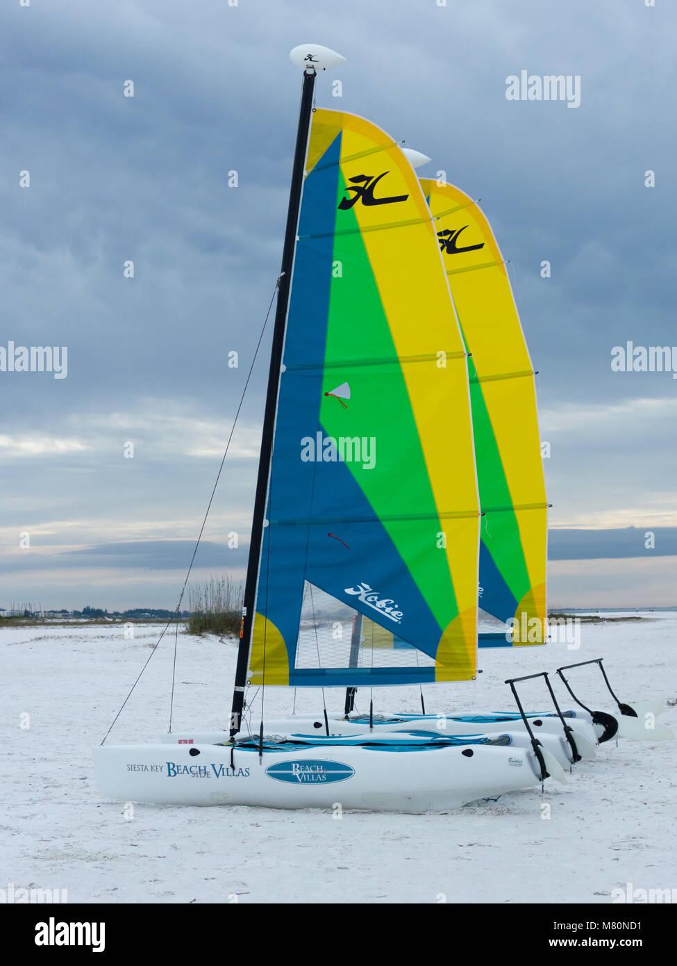 Catamarans on Siesta Key Beach - Stock Image