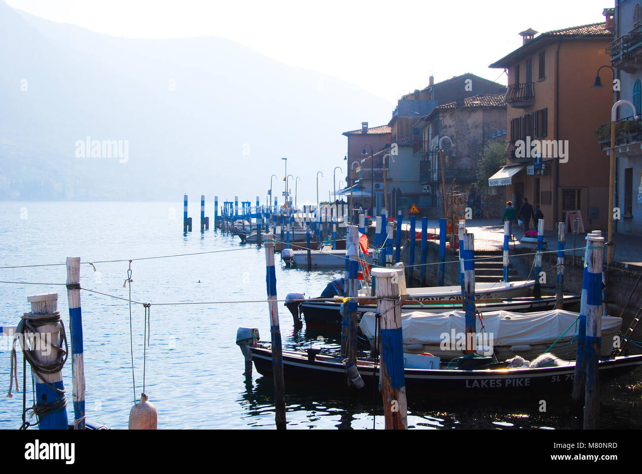 Little docking in the Montisola island in the middle of Iseo Lake - Italy - Stock Image