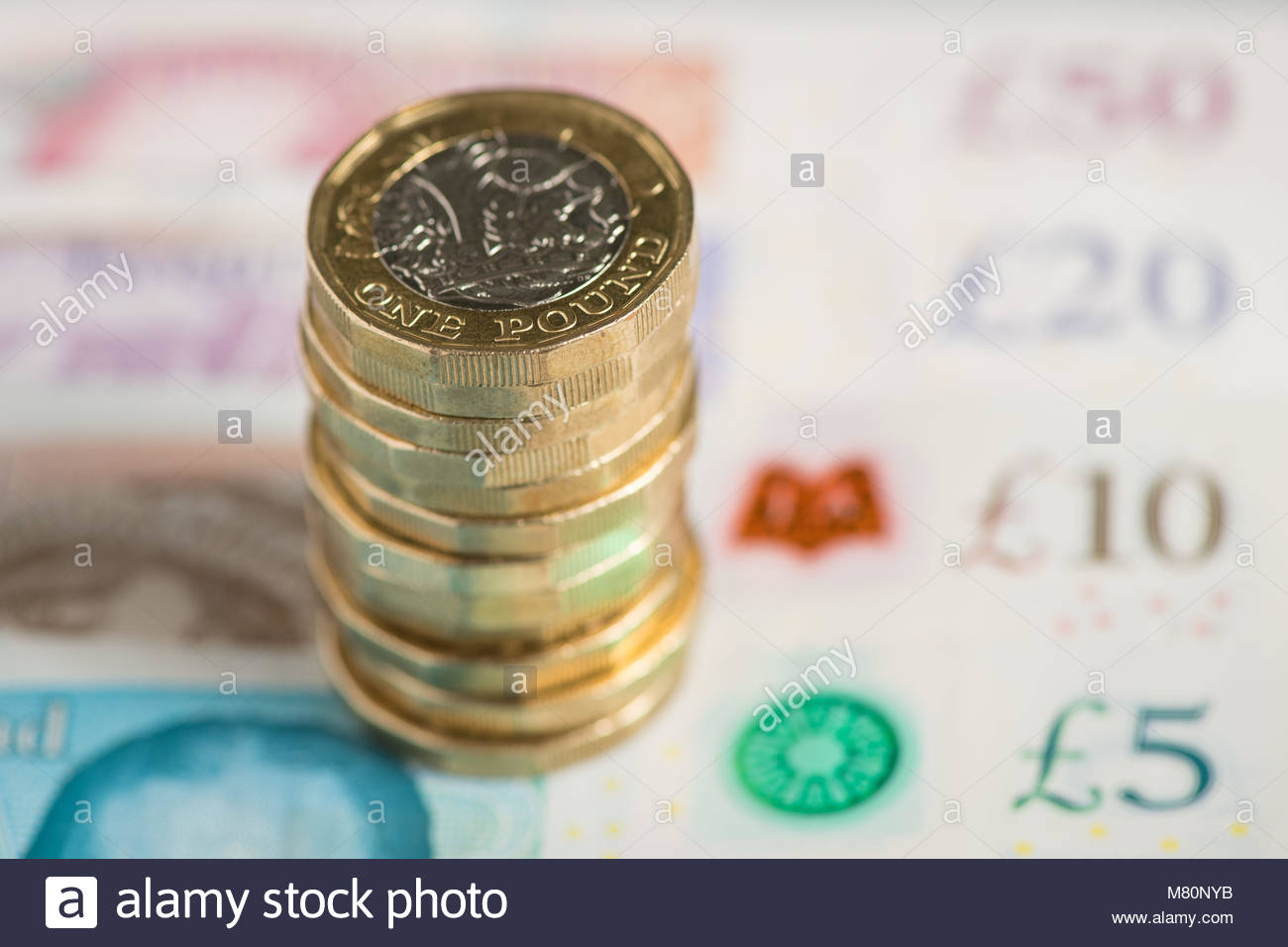 File photo dated 26/01/18 of bank notes and coins. Tax rises worth at least £30 billion a year will be - Stock Image