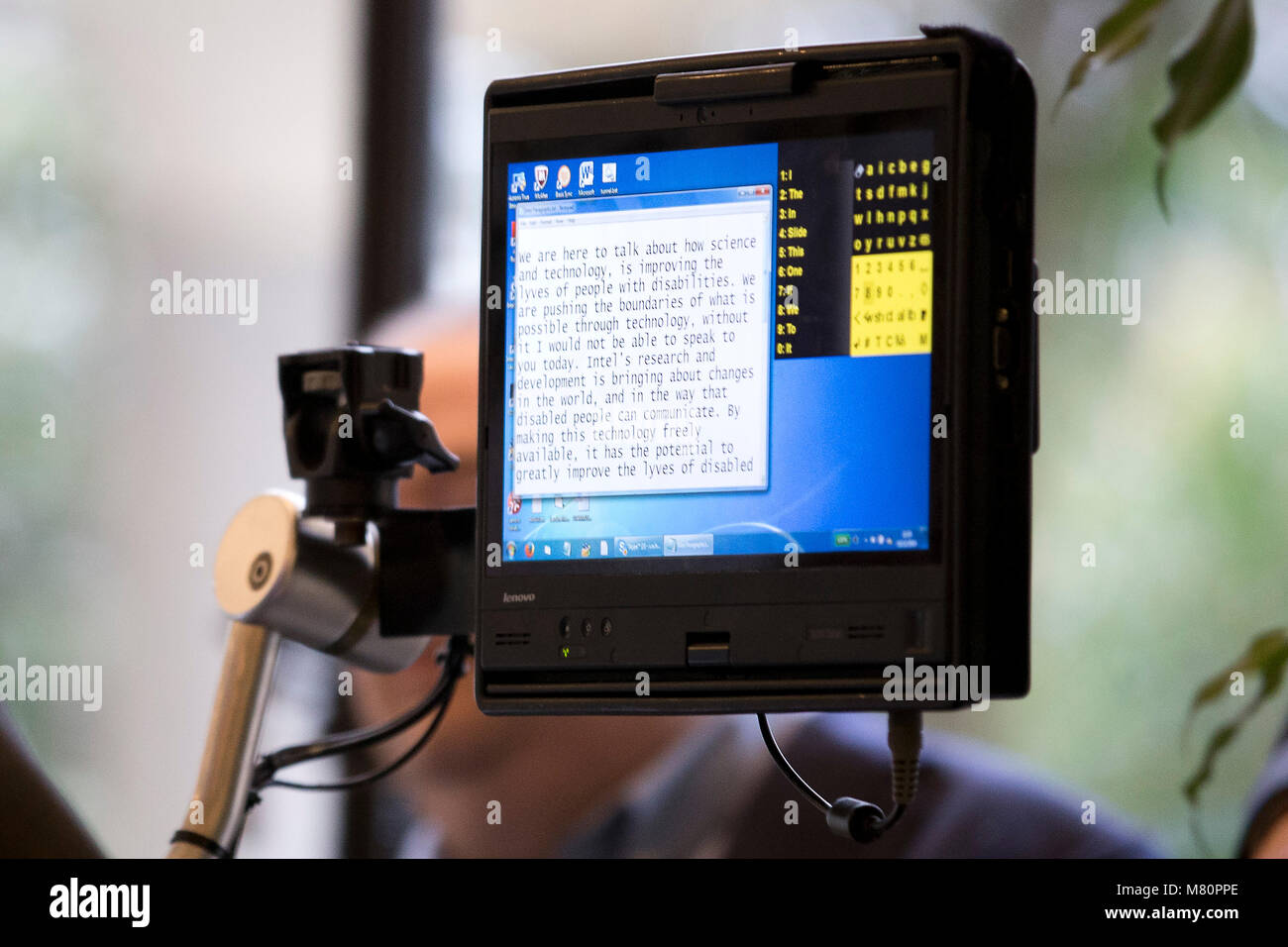 Professor Stephen Hawking ACAT intel computer screen is pictured as he speaks to media at a press conference in Stock Photo
