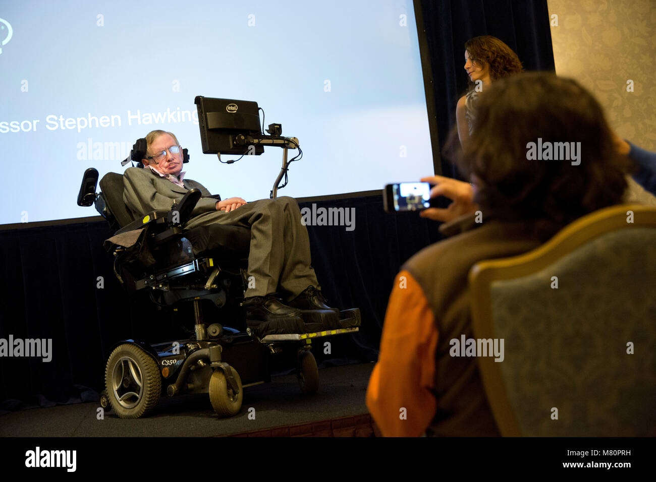 Professor Stephen Hawking speaks to media at a press conference in London 2.12.14. Stock Photo