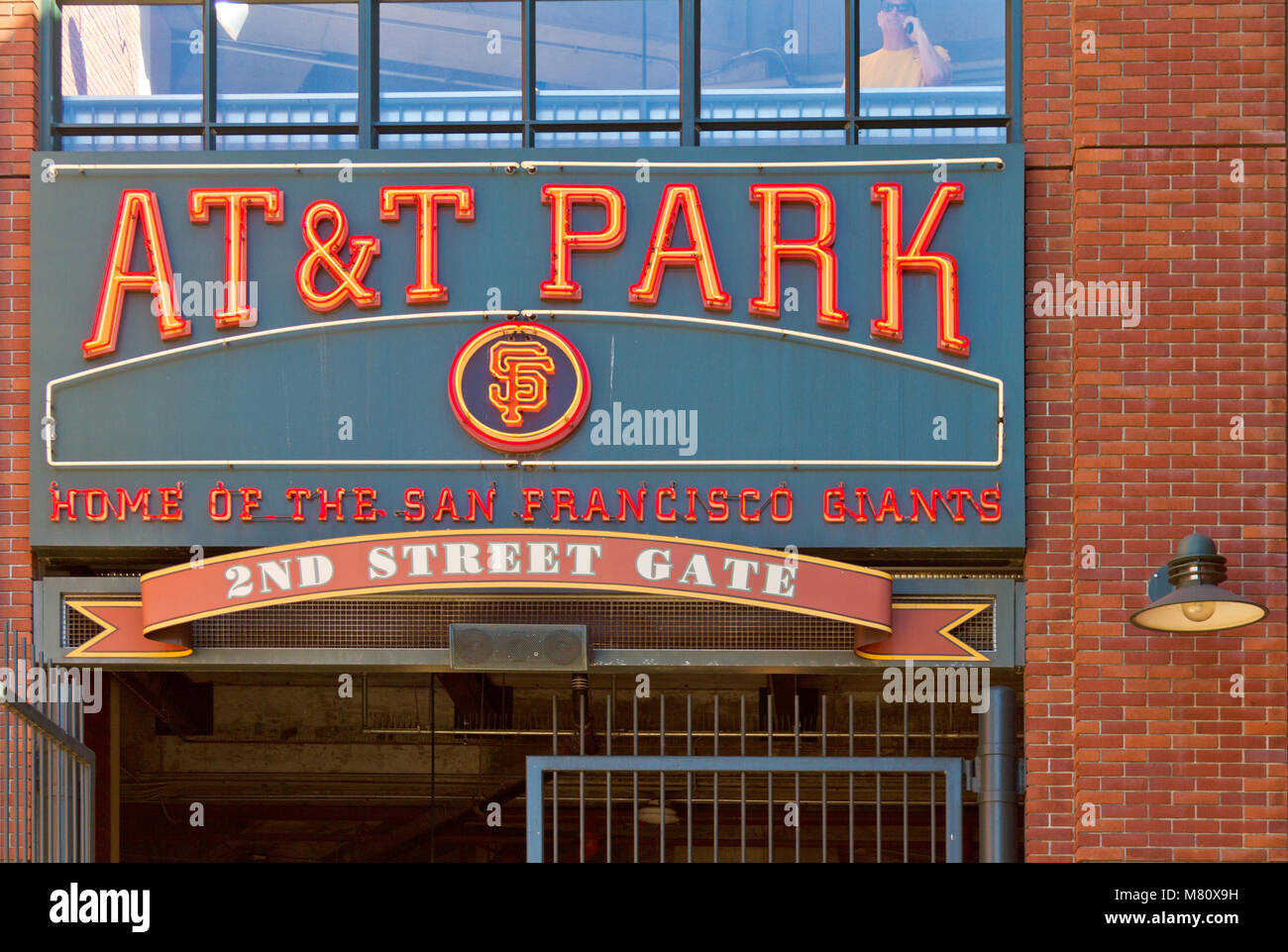 View of 2nd Street gate to AT&T Park, home of the San Francisco Giants. - Stock Image