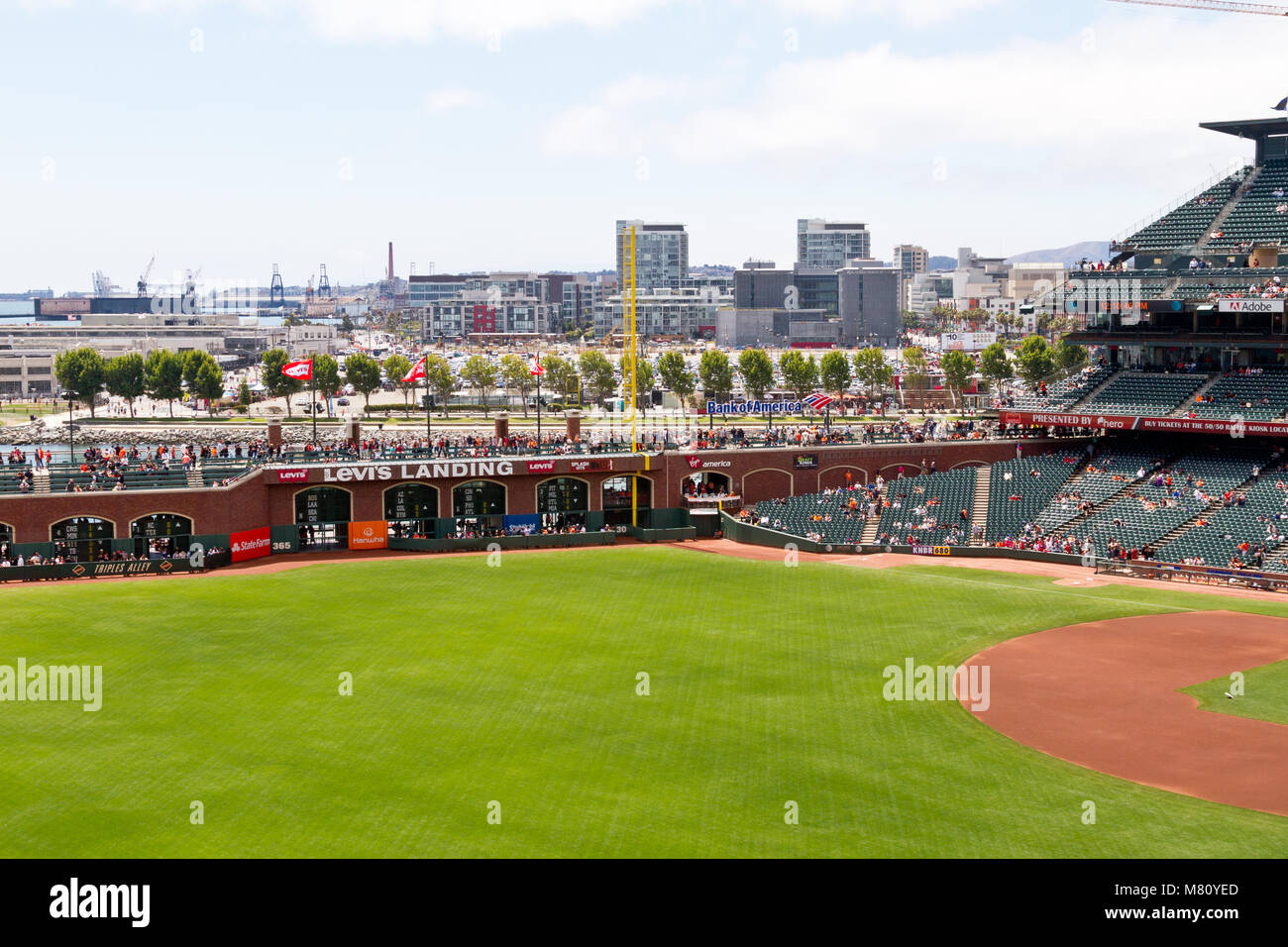 View of right field at AT&T Park, home of the San Francisco Giants. - Stock Image