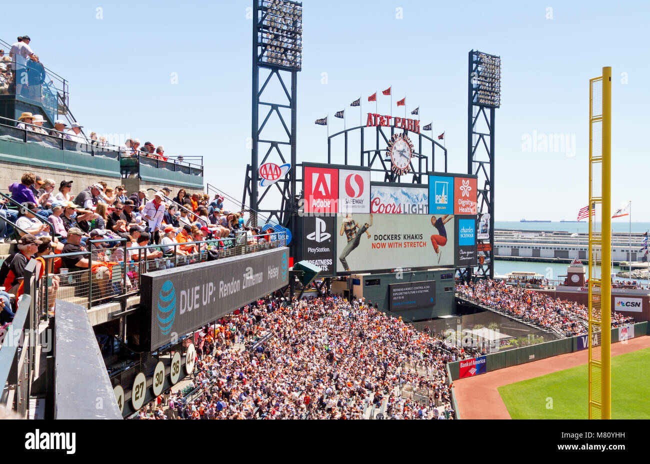View of center field at AT&T Park, home of the San Francisco Giants. - Stock Image