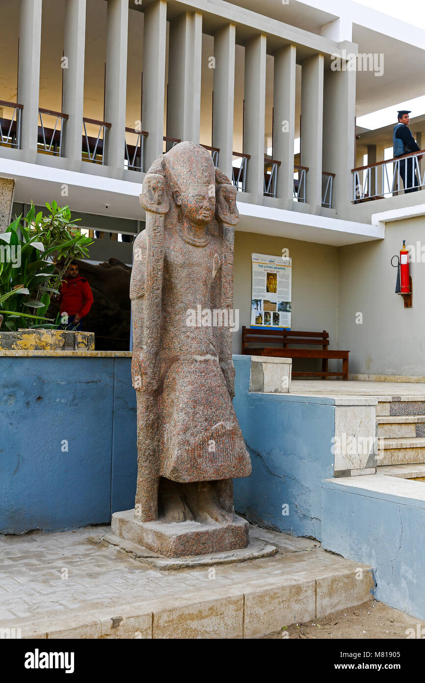 A statue of a Pharaoh at the open air museum at Memphis, Mit Rahinah, Egypt, Africa Stock Photo