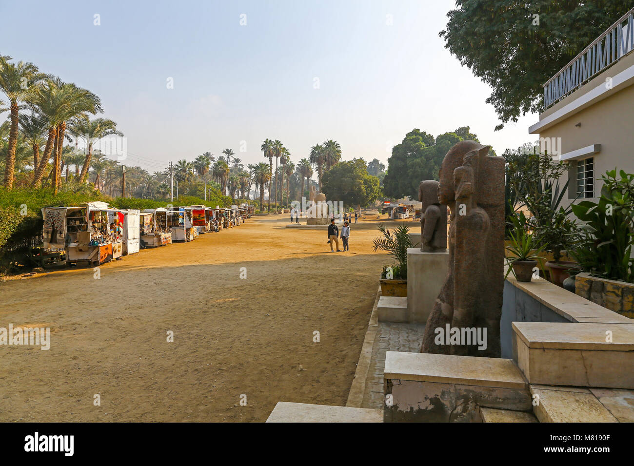 A general view of the bazars and exhibits at the open air museum at Memphis, Mit Rahinah, Al Badrashin, Egypt - Stock Image