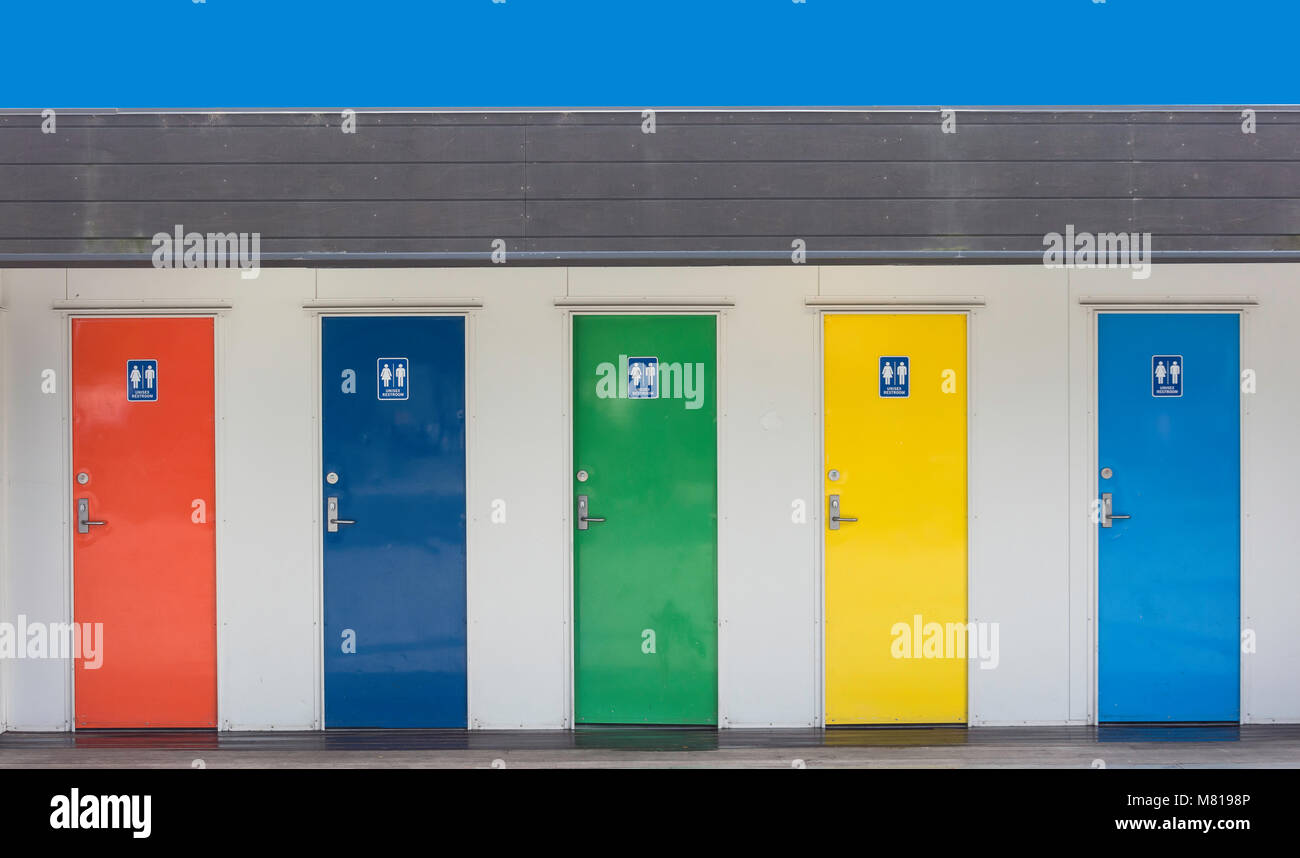 Unisex public restrooms, Cathedral Square, Christchurch, Canterbury, New Zealand - Stock Image
