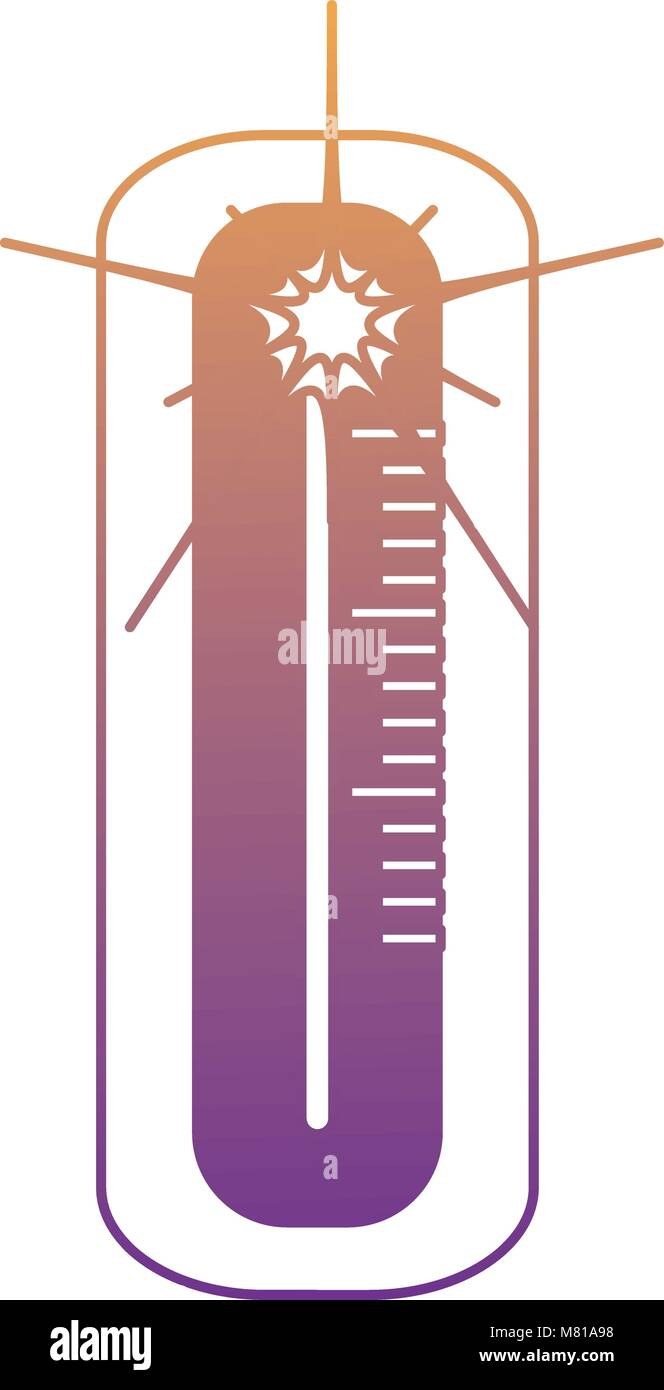 Hot Weather Thermometer icon over white background, colorful design. vector illustration - Stock Vector