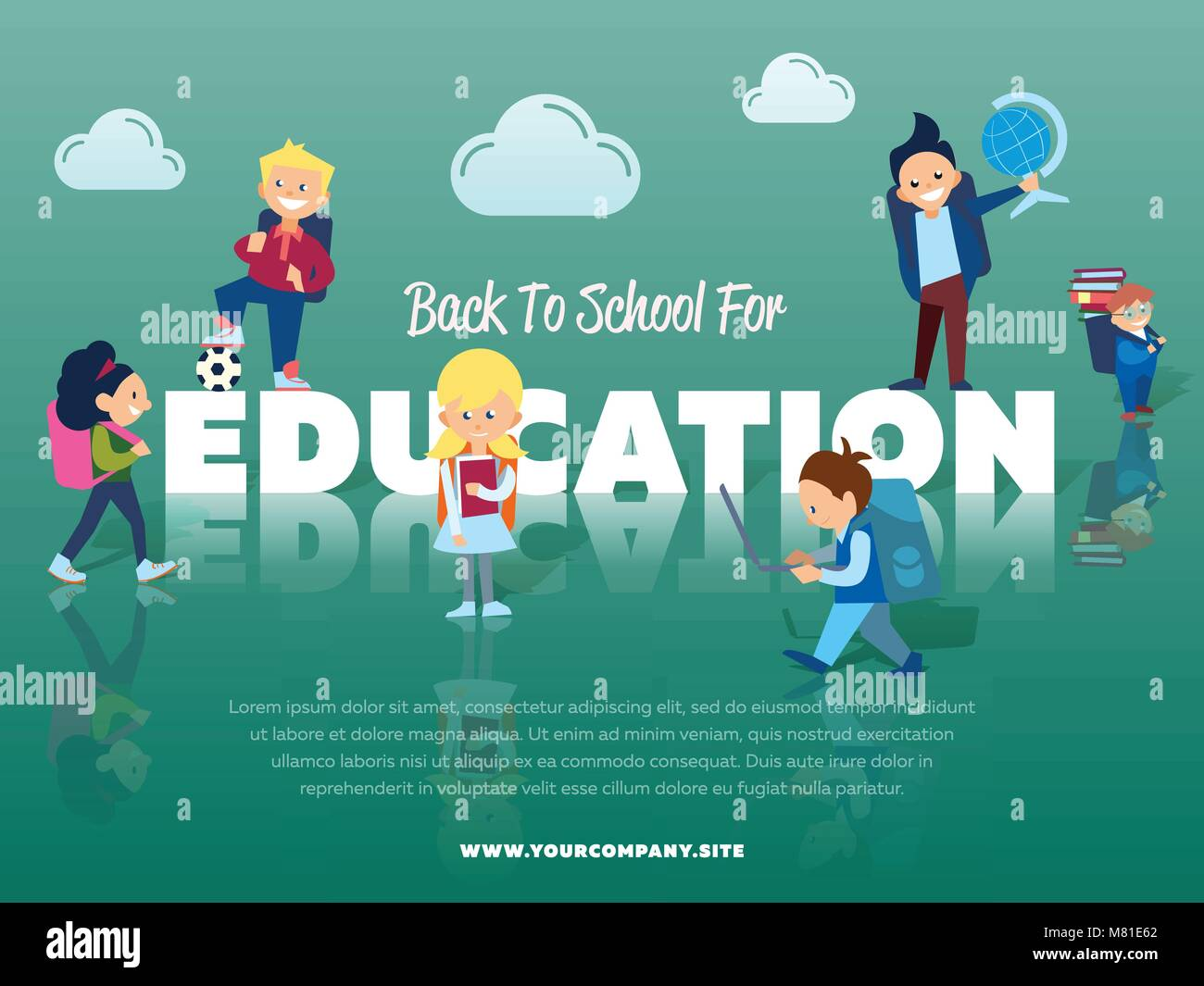 Back to school for education banner - Stock Vector