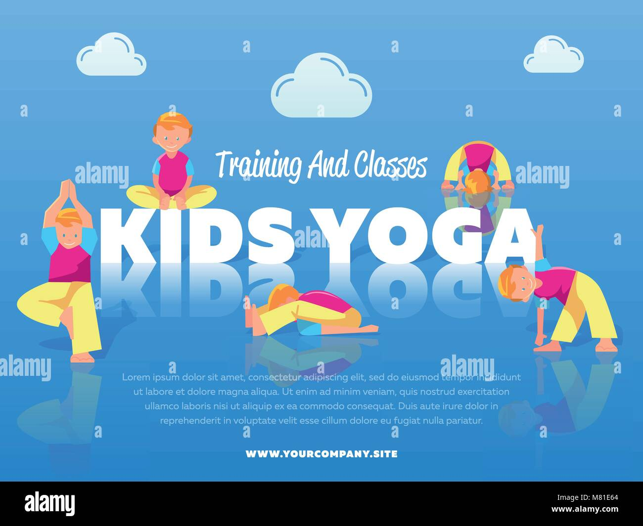 Training And Classes Kids Yoga Banner Stock Vector Image Art Alamy