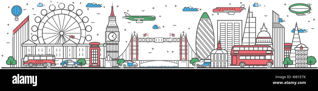Travel in London city line flat design banner - Stock Vector