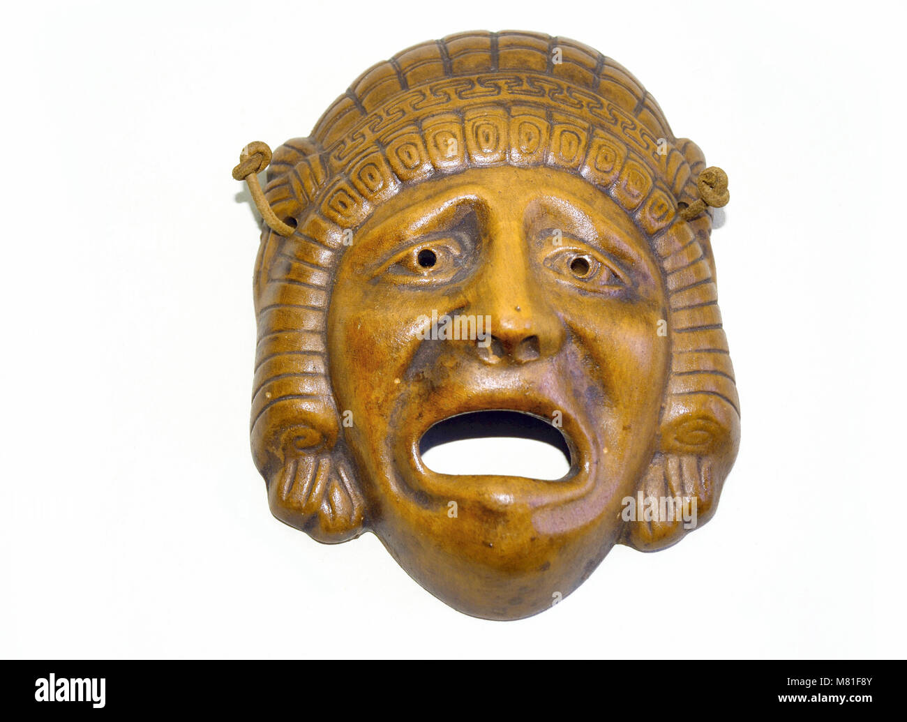 modern copy of an ancient Greek tragedy drama mask. - Stock Image