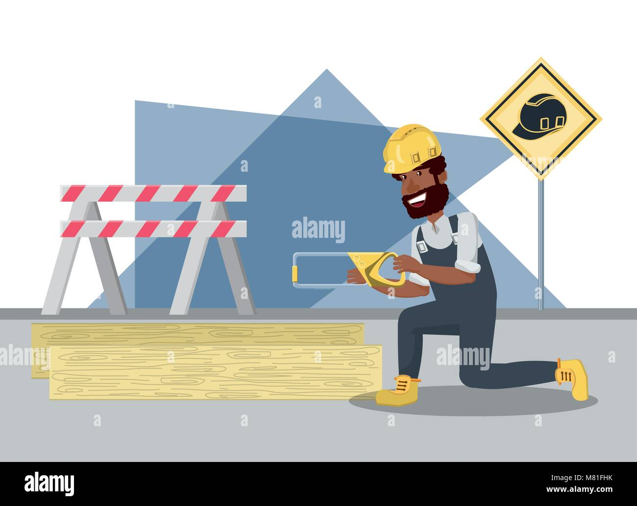 Construction builder with handsaw and wooden board over white background, colorful design vector illustration - Stock Image