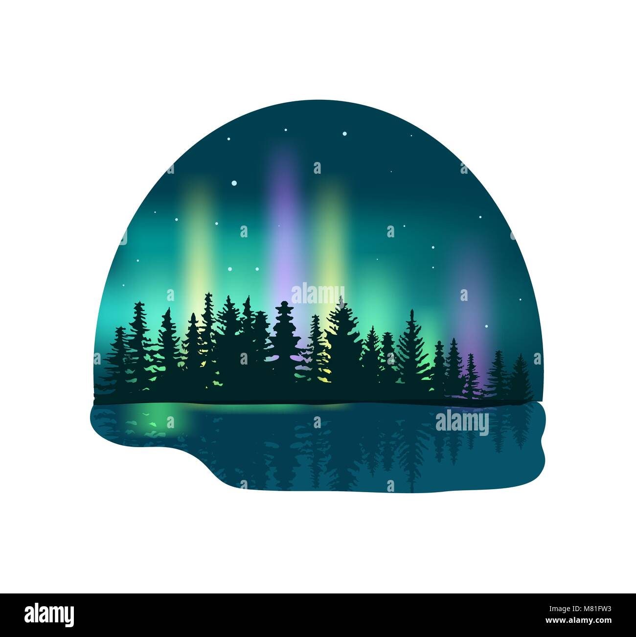 Northern lights over deep forest icon - Stock Image