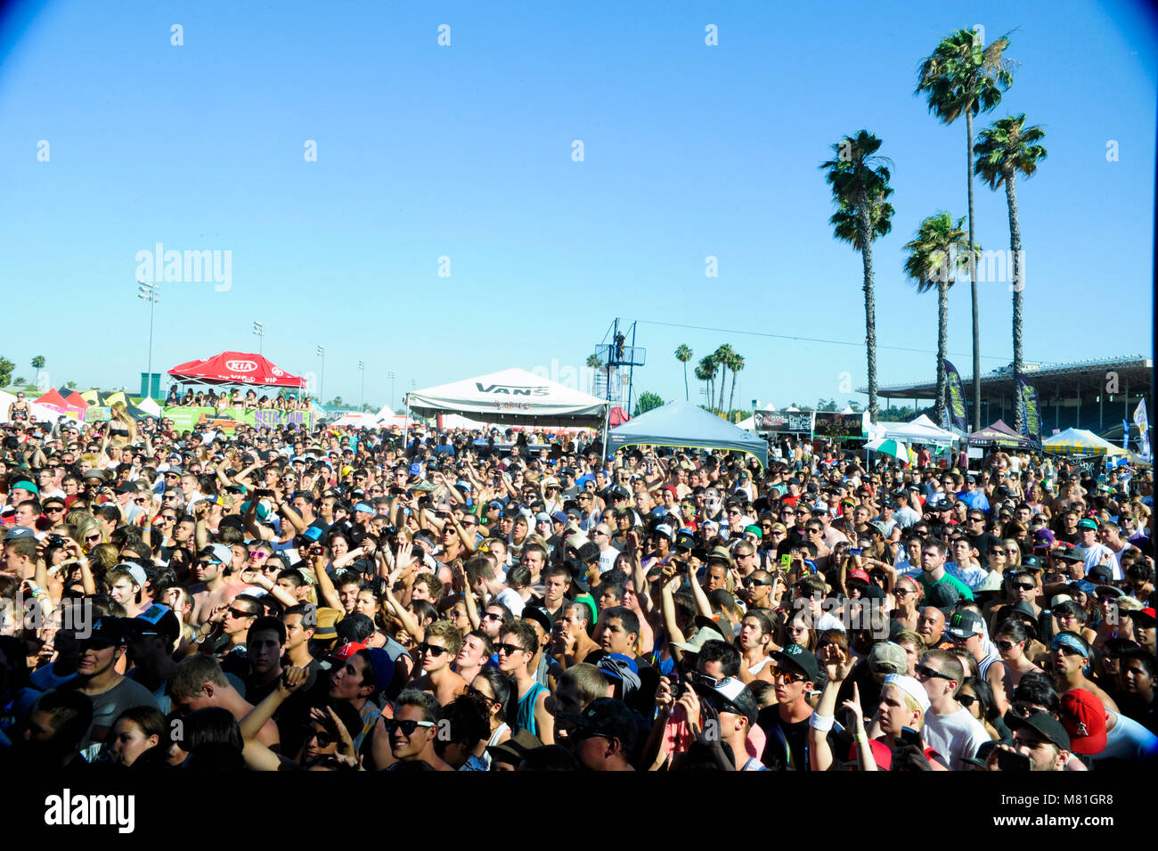 Crowd atmosphere at the Vans Warped Tour at Pomona Fairgrounds on July 1, 2011 in Pomona, California. - Stock Image